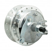 WHEEL HUB FOR MOPED PEUGEOT 103 -FRONT - 36 spokes- WITH DRUM BRAKING PLATE + AXLE -SELECTION P2R-