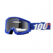 MOTOCROSS GOOGLES 100% STRATA - BLUE - CLEAR LENS - NO FOG/ANTI-SCRATCH