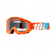 MASQUE/LUNETTES CROSS 100% STRATA ORANGE ECRAN TRANSPARENT ANTI-BUEE/ANTI-RAYURES