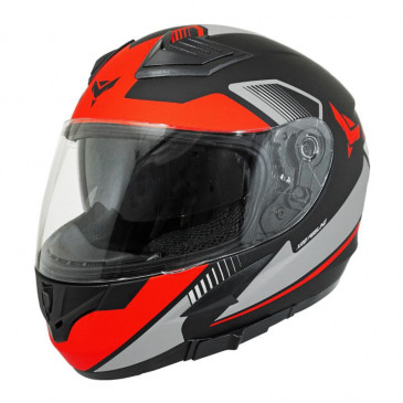 HELMET-FULL FACE ADX XR3 FEELING BLACK/SILVER/RED - MATT XXL (DOUBLE VISORS)