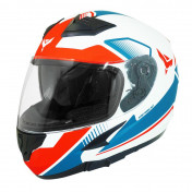 HELMET-FULL FACE ADX XR3 FEELING WHITE/RED/BLUE - MATT L (DOUBLE VISORS)