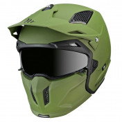 TRIAL HELMET - MT STREETFIGHTER SV -SIMPLE VISOR- WITH REMOVABLE CHIN GUARD + MIRROR VISOR - MATT GREEN XS
