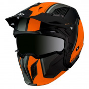 TRIAL HELMET - MT STREETFIGHTER SV -SIMPLE VISOR- WITH REMOVABLE CHIN GUARD + MIRROR VISOR - FLUO ORANGE/MATT BLACK XS