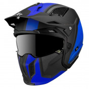 TRIAL HELMET - MT STREETFIGHTER SV -SIMPLE VISOR- WITH REMOVABLE CHIN GUARD + MIRROR VISOR - BLUE/MATT BLACK XS