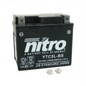BATTERY 12V 5 Ah YTC5L-BS NITRO GEL (L114xW71xH106) (PEUGEOT 50 KISBEE 4STROKE)