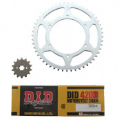 CHAIN AND SPROCKET KIT FOR DERBI 50 GPR 2004>2005 NUDE 420 14x52 (BORE Ø 108mm, FLAT) -DID-
