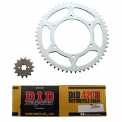 CHAIN AND SPROCKET KIT FOR DERBI 50 GPR 2004>2005 NUDE 420 14x53 (BORE Ø 108mm, FLAT) -DID-