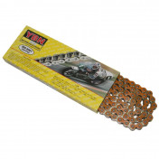 CHAIN FOR MOTORBIKE ON ROAD YBN 420 REINFORCED - ORANGE- 134 LINKS