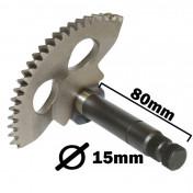 AXE/PIGNON DE KICK SCOOT ADAPTABLE CPI 50 OLIVER 2003>/KEEWAY 50 MATRIX 2006/MALAGUTI 50 F12 2007> (DIAM 15mm, L 80mm, 32 CANNELURES, ENTRAXE 47mm) -BUZZETTI-