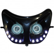 DOUBLE OPTIQUE REPLAY RR8 POUR DERBI 50 SENDA NOIR AVEC LEDS BLANCHES **