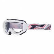 MOTOCROSS GOGGLES PROGRIP 3201 ATZAKI - WHITE CLEAR VISOR ANTI-SCRATCH/U.V. PROTECTIVE - FOR GLASSES WEARERS -APPROVED AC-10170