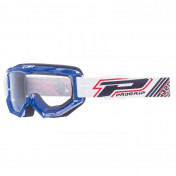 MOTOCROSS GOGGLES PROGRIP 3201 ATZAKI - BLUE CLEAR VISOR ANTI-SCRATCH/U.V. PROTECTIVE - FOR GLASSES WEARERS -APPROVED AC-10170