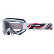 MOTOCROSS GOGGLES PROGRIP 3201 ATZAKI - GREY CLEAR VISOR ANTI-SCRATCH/U.V. PROTECTIVE - FOR GLASSES WEARERS -APPROVED AC-10170