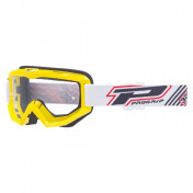 MOTOCROSS GOGGLES PROGRIP 3201 ATZAKI - YELLOW CLEAR VISOR ANTI-SCRATCH/U.V. PROTECTIVE - FOR GLASSES WEARERS -APPROVED AC-10170