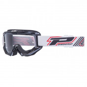 MOTOCROSS GOGGLES PROGRIP 3201 ATZAKI - BLACK CLEAR VISOR ANTI-SCRATCH/U.V. PROTECTIVE - FOR GLASSES WEARERS -APPROVED AC-10170