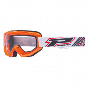 MOTOCROSS GOGGLES PROGRIP 3201 ATZAKI - ORANGE CLEAR VISOR ANTI-SCRATCH/U.V. PROTECTIVE - FOR GLASSES WEARERS -APPROVED AC-10170