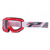 MOTOCROSS GOGGLES PROGRIP 3201 ATZAKI - RED CLEAR VISOR ANTI-SCRATCH/U.V. PROTECTIVE - FOR GLASSES WEARERS -APPROVED AC-10170