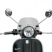 BULLE/SAUTE VENT MAXISCOOTER POUR PIAGGIO 125 VESPA PX 2011> FUME CLAIR FIXATION CHROME (H 235mm - L 355mm) -FACO-
