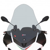 WINDSHIELD FOR MAXISCOOTER APRILIA 125 SR MAX 2012>, 300 SR MAX 2012> (TALL-CLEAR) WITH SCREEN PRINTING (H 660mm - L 530mm) -FACO-