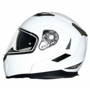 HELMET- FLIP-UP MT FLUX DOUBLE VISORS WHITE GLOSSY XS