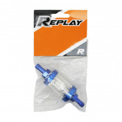 FUEL FILTER REPLAY CYLINDRICAL ALUMINIUM - TRANSPARENT/BLUE Ø6mm (SOLD BY UNIT)