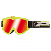 MOTOCROSS GOGGLES PROGRIP 3204 SHINY FLUOYELLOW -MULTILAYERED RED LENS- NO FOG/U.V. PROTECTION/ANTI-SCRATCH