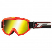 MOTOCROSS GOGGLES PROGRIP 3204 SHINY FLUO RED -MULTILAYERED YELLOW LENS- NO FOG/U.V. PROTECTION/ANTI-SCRATCH