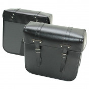 PANNIERS FOR MOPED SPORFABRIC R40 VINTAGE STYLE(33x32x14cm) -(FASTENING STRAPS) (BLACK LEATHER EFFECT) - PAIR