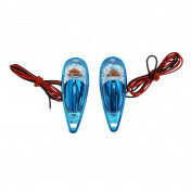 """DECORATIVE LIGHTNING REPLAY """"WATER DROP"""" FENDER TRANSPARENT/BLUE WITH ORANGE BULB(L 62mm / H 18mm / W 22mm) (PAIR) **"""