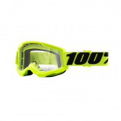 MOTOCROSS GOOGLES 100% STRATA 2 ESSENTIAL FLUO YELLOW- CLEAR LENS ANTI-SCRATCH/NO FOG