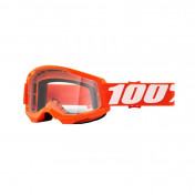 MASQUE/LUNETTES CROSS 100% STRATA 2 ESSENTIAL ORANGE ECRAN TRANSPARENT ANTI-BUEE/ANTI-RAYURES