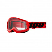 MASQUE/LUNETTES CROSS 100% ADULTE STRATA 2 ESSENTIAL ROUGE ECRAN TRANSPARENT ANTI-BUEE/ANTI-RAYURES