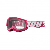 MASQUE/LUNETTES CROSS 100% ADULTE STRATA 2 FLETCHER ROSE ECRAN TRANSPARENT ANTI-BUEE/ANTI-RAYURES