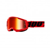 MOTOCROSS GOOGLES 100% STRATA 2 ESSENTIAL RED- MIRRORED LENS ANTI-SCRATCH/NO FOG