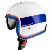 HELMET-OPEN FACE MT LE MANS 2 SV TANT WHITE/RED/BLUE-GLOSS- S