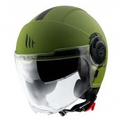 HELMET-OPEN FACE MT VIALE SV DOUBLE VISORS - SOLID MATT GREEN - L