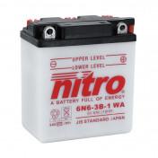 BATTERY 6V 6,3 Ah 6N6-3B-1 NITRO - WITH MAINTENANCE (Long 99mm x Wd 57mm x H. 111mm)