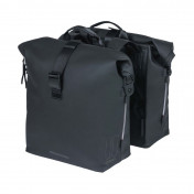 BICYCLE DOUBLE BAG-REAR- BASIL SOHO 41Lt BLACK - VELCRO TAPES ON REAR CARRIER (31x12x37cm)