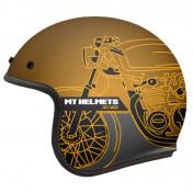 HELMET-OPEN FACE MT LE MANS 2 SV CAFE RACER -MATT GOLD XS