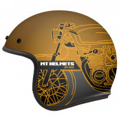 HELMET-OPEN FACE MT LE MANS 2 SV CAFE RACER -MATT GOLD M