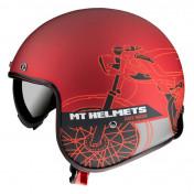HELMET-OPEN FACE MT LE MANS 2 SV CAFE RACER -MATT RED L