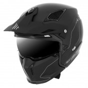 TRIAL HELMET -MT STREETFIGHTER SV -SIMPLE VISOR- WITH DETACHABLE CHIN GUARD + MIRROR VISOR -MATT BLACK - M