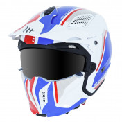 TRIAL HELMET - MT STREETFIGHTER SV -SIMPLE VISOR- WITH REMOVABLE CHIN GUARD + MIRROR VISOR - BLUE/GLOSS WHITEL