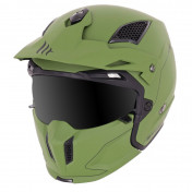 TRIAL HELMET - MT STREETFIGHTER SV -SIMPLE VISOR- WITH REMOVABLE CHIN GUARD + MIRROR VISOR - MATT GREEN M