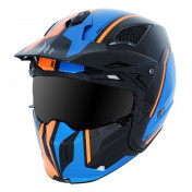 CASQUE TRIAL MT STREETFIGHTER SV TWIN SIMPLE ECRAN TRANSFORMABLE AVEC MENTONNIERE AMOVIBLE ORANGE FLUO/BLEU/NOIR BRILLANT (LIVRE AVEC UN ECRAN MIROIR SUPPLEMENTAIRE) L