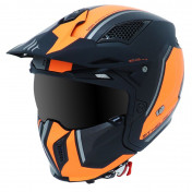TRIAL HELMET - MT STREETFIGHTER SV -SIMPLE VISOR- WITH REMOVABLE CHIN GUARD + MIRROR VISOR - FLUO ORANGE/MATT BLACK L