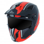 TRIAL HELMET - MT STREETFIGHTER SV -SIMPLE VISOR- WITH REMOVABLE CHIN GUARD + MIRROR VISOR - RED/MATT BLACK XL