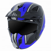 TRIAL HELMET - MT STREETFIGHTER SV -SIMPLE VISOR- WITH REMOVABLE CHIN GUARD + MIRROR VISOR - BLUE/MATT BLACK XL