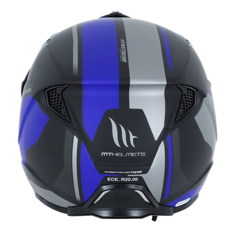 Motodak Casque Trial MT Streetfighter SV Simple ecran Transformable avec mentonniere Amovible Bleu-Noir Mat Bleu//Noir