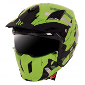 TRIAL HELMET - MT STREETFIGHTER SV -SINGLE VISOR- WITH REMOVABLE CHIN GUARD - SKULL -MATT GREEN (+ 1 EXTRA MIRROR VISOR) M